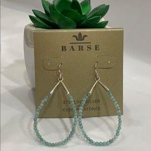 BARSE 925 SILVER & STONE Teardrop Bead Earrings!
